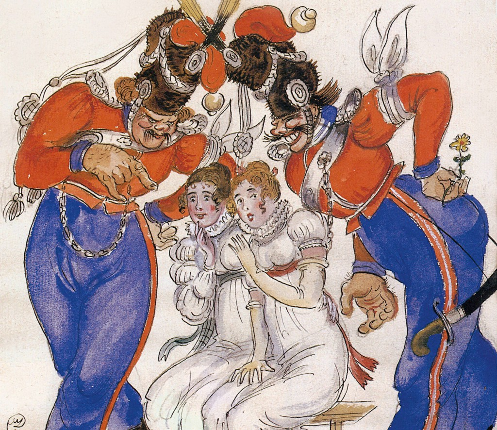 7. Mstislav Dobujinsky, Costume Design for Two Cossacks Flirting with Two Girls, 1926, detail