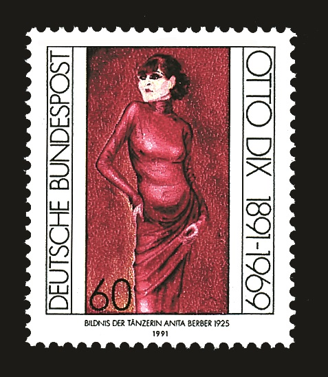 5. German postage stamp from 1991 showing Otto Dix's painting of Anita Berber, photo by courtesy of Medienfabrik Gütersloh GmbH 2015