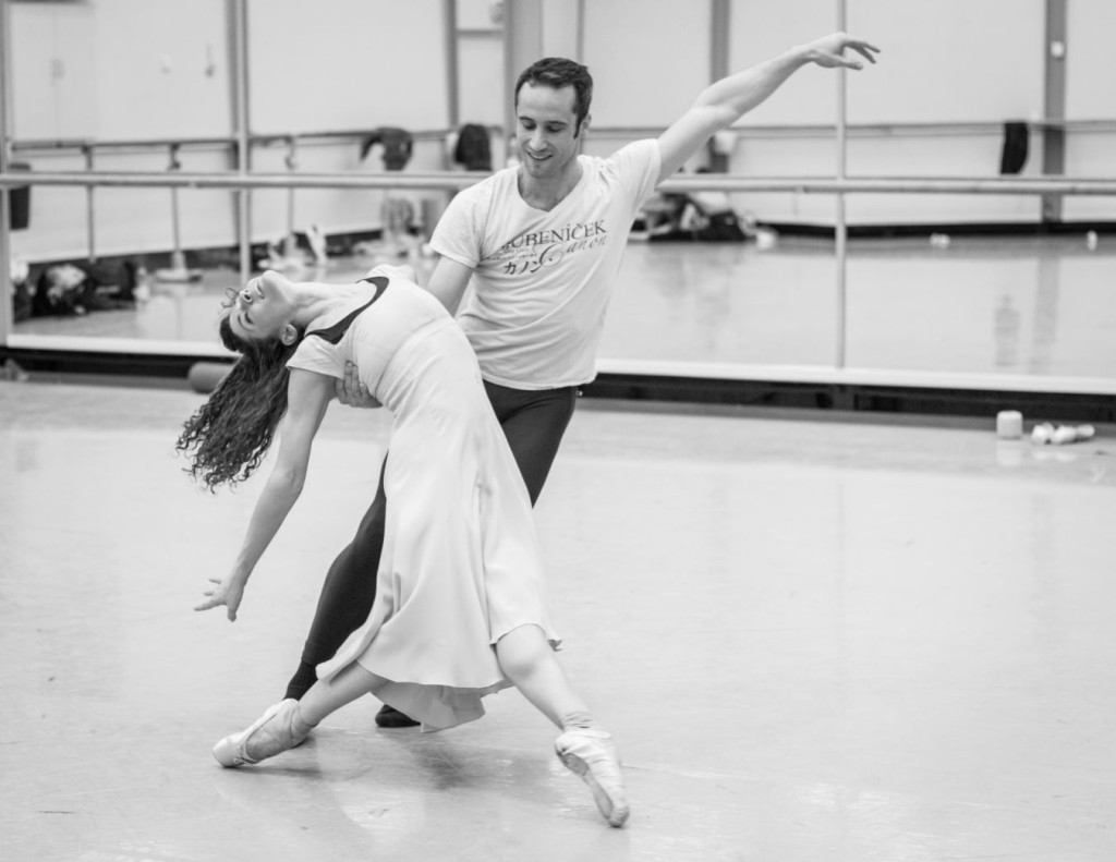 "13. C.Richardson and F.Voranger rehearsing David Dawson's ""Giselle"", photo: Ian Whalen"