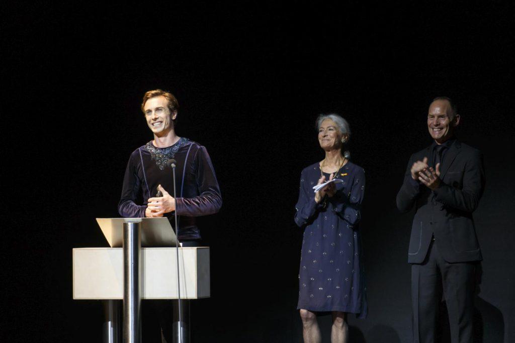 6. A.Shesterikov, A.Radius and T.Brandsen, presentation of the Alexandra Radius Prize, Dutch National Ballet © M.Schnater 2016