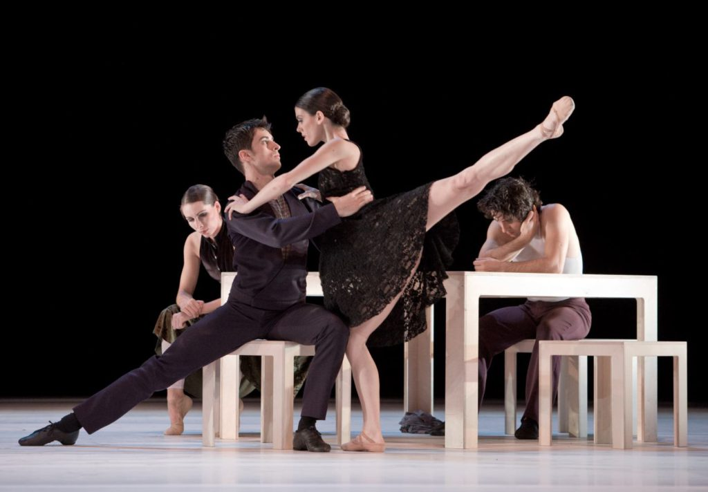 """49. J.Thirault, A.Simões, A.García Navarro and B.Nicula, """"Compositie"""" by H.van Manen, Ballett am Rhein © G.Weigelt"""