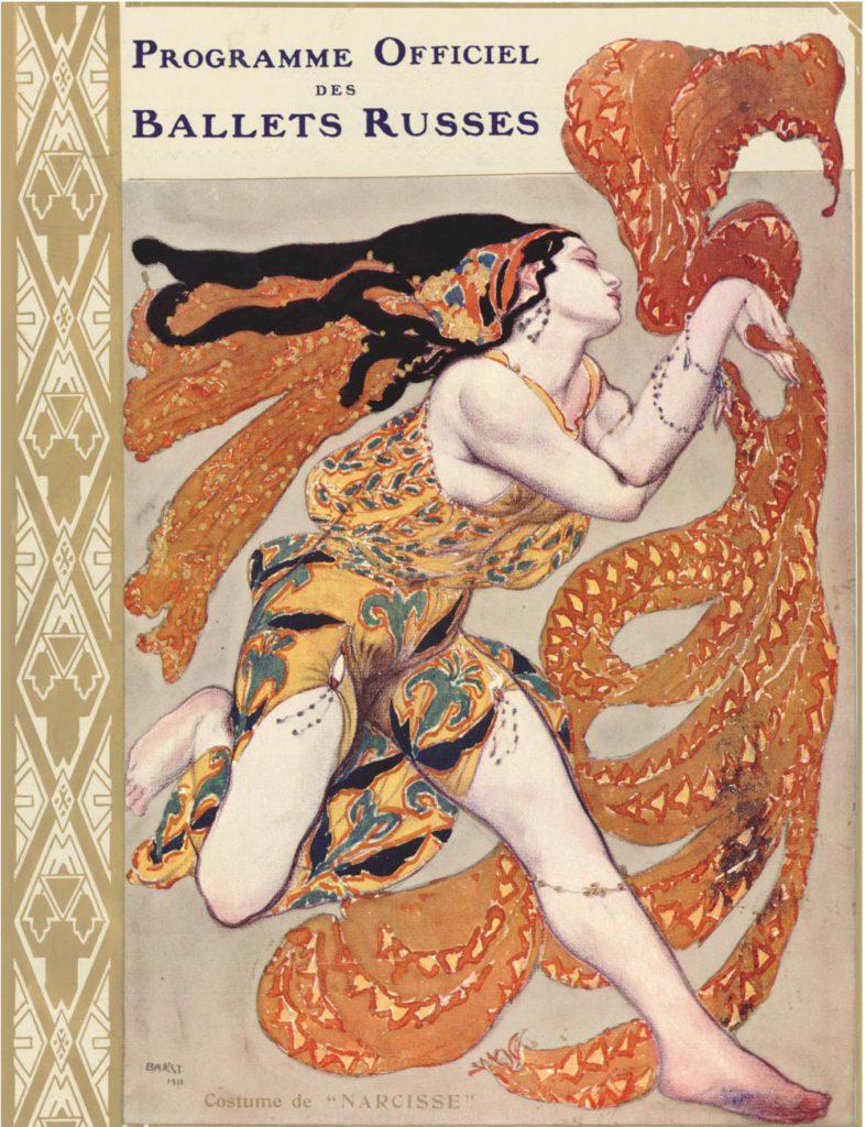 """1. Cover of the program of the Ballets Russes season in Paris 1911: costume for a bacchanal from """"Narcisse"""", chor.: M.Fokine © BnF, département de la Musique, Bibliothèque-musée de l'Opéra"""