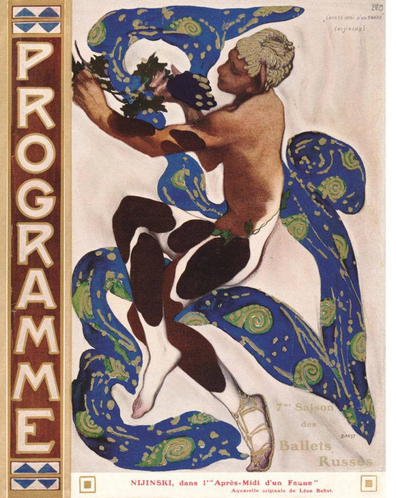 "8. Cover of the program of the Ballets Russes season in 1912: V.Nijinsky in ""L'apres-midi d'un faune"" © BnF, département de la Musique, Bibliothèque-musée de l'Opéra"