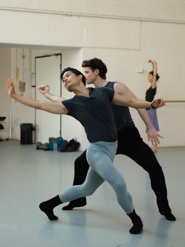 "6. Y.G.Choi and A.Babenko, rehearsal of ""Requiem"", chor.: T.van Schayk, Dutch National Ballet 2016 © A.Kaftira"