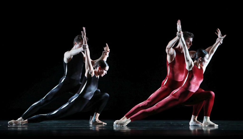 "4. A.Shesterikov, I.de Jongh, E.Wijnen and Q.Liu, ""On the Move"" by H.van Manen, Dutch National Ballet 2017 © H.Gerritsen"