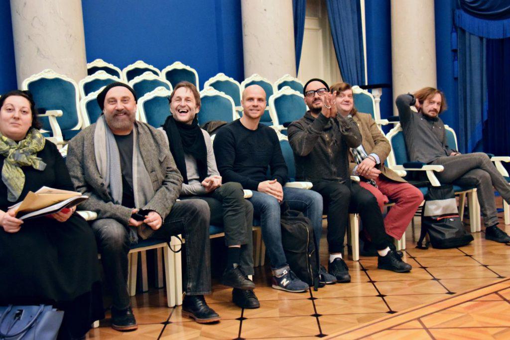 "11. T.Eshba, P.Kaplevich, A.Manotskov, E.Kulagin, K.Serebrennikov, F.Korobov and D.Azarov during rehearsals for ""Chaadsky"" by A.Manotskov, directed by K.Serebrennikov, Helikon-Opera Moscow 2017 © Irina Shymchak"