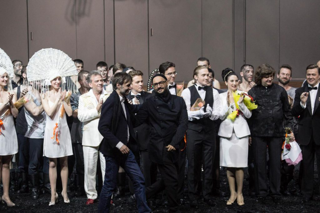 "17. Curtain call after the premiere of ""Chaadsky"" by A.Manotskov, directed by K.Serebrennikov, Helikon-Opera Moscow 2017 © A.Molyanova"