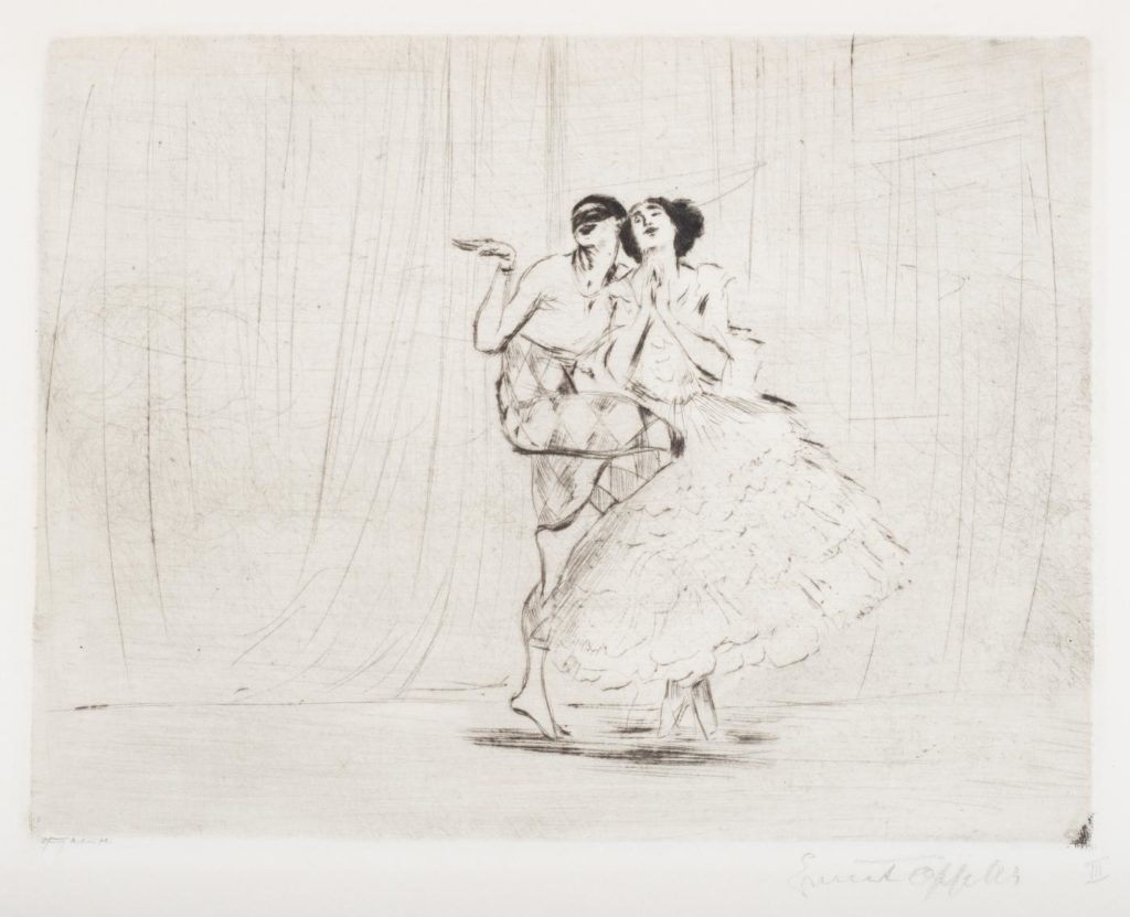 "2. V.Nijinsky and T.Karsavina in ""Carnaval"", chor.: M.Fokine; Etching by E.Oppler 1917 © German Dance Archive Cologne"