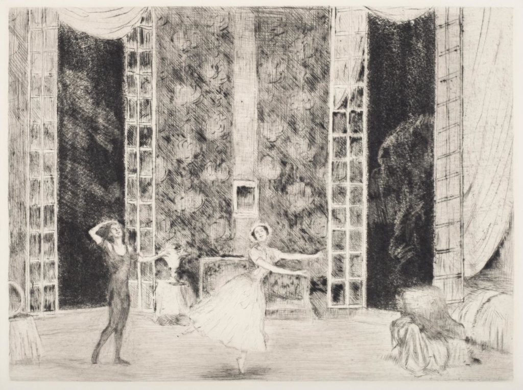 "4. V.Nijinsky and T.Karsavina in ""Le Spectre de la rose"", chor.: M.Fokine; Etching by E.Oppler 1912/13 © German Dance Archive Cologne"