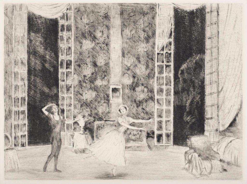 "4. V.Nijinsky and T.Karsavina in ""Le Spectre de la rose"", chor.: M.Fokine; Etching by E.Oppler 1912/13 © German Dance Archive Cologne"