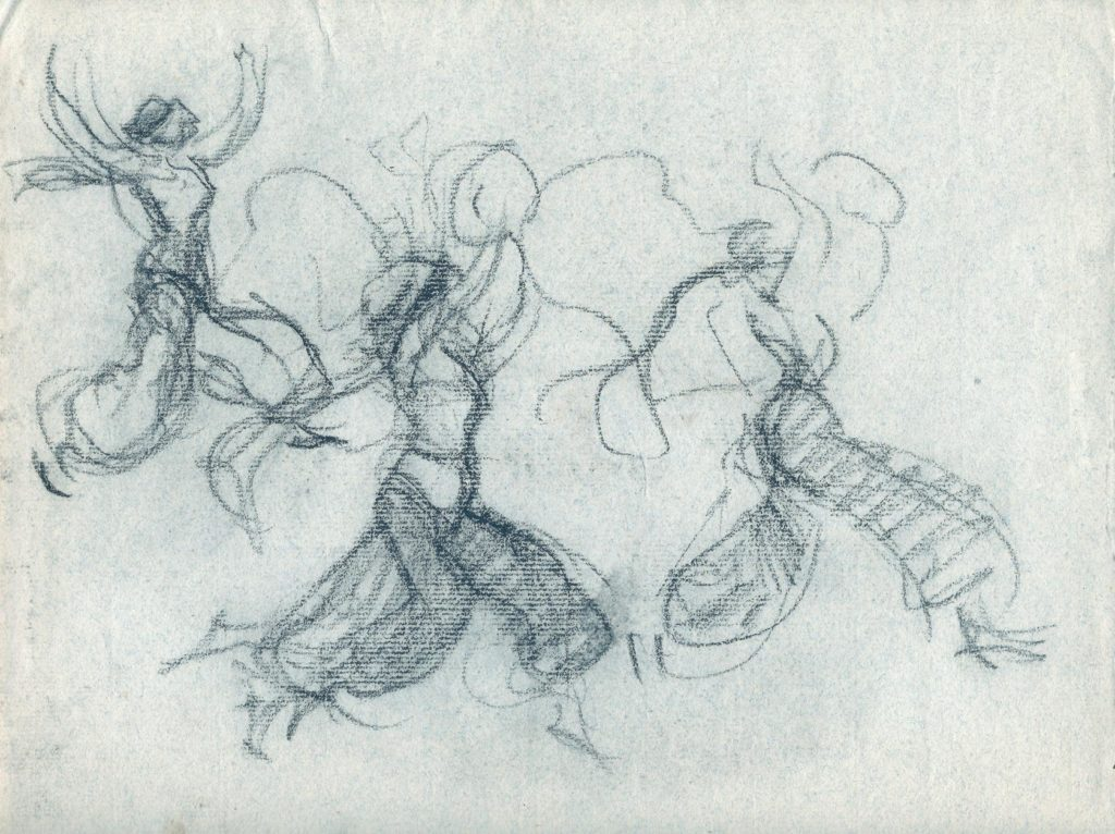 "5. Presumably ""Scheherazade"", chor.: M.Fokine; Charcoal by E.Oppler 1912 © German Dance Archive Cologne"