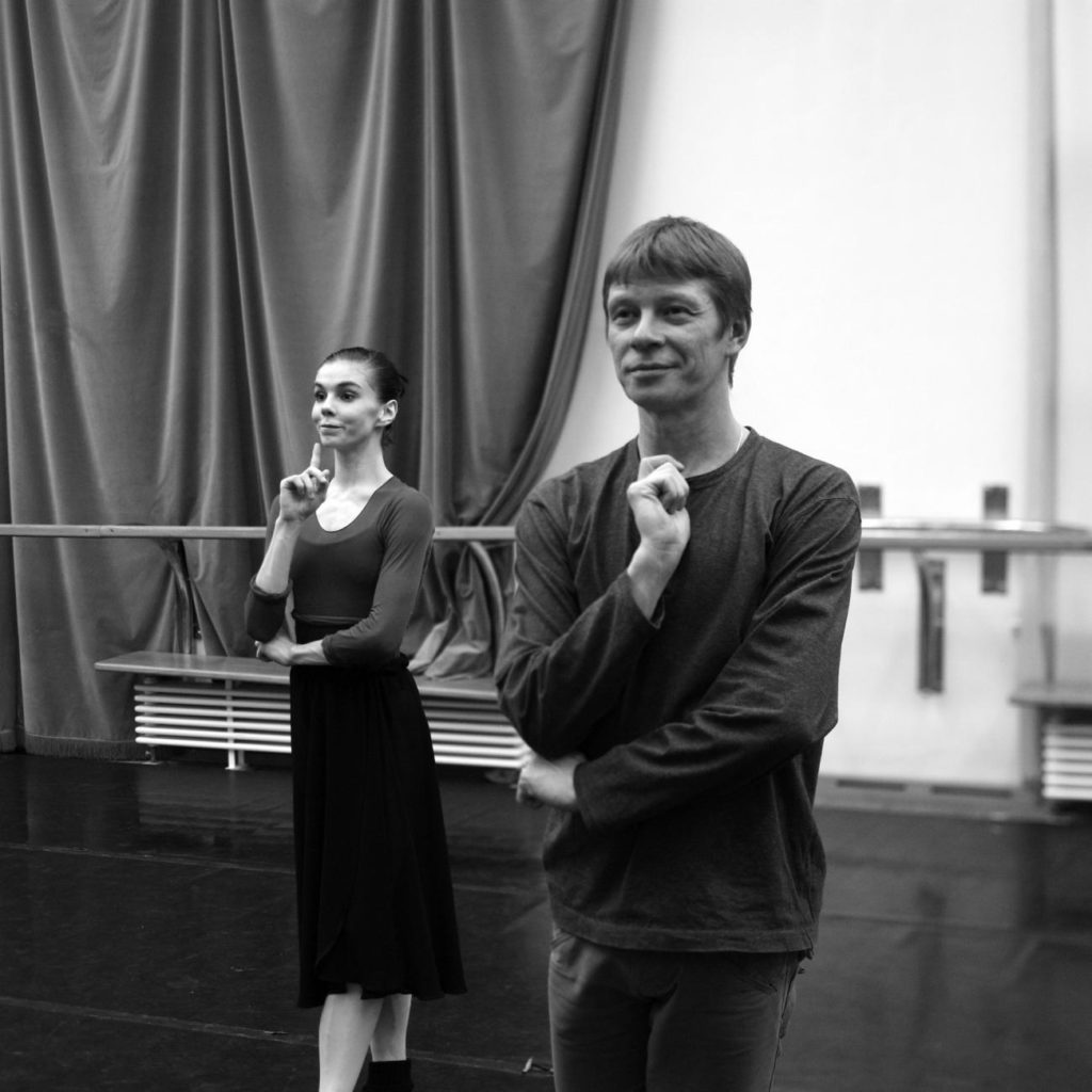 """4. S. Vikharev and N. Osipova rehearsing """"Coppélia"""", Bolshoi Ballet © Bolshoi Ballet / V. Podorojniy"""