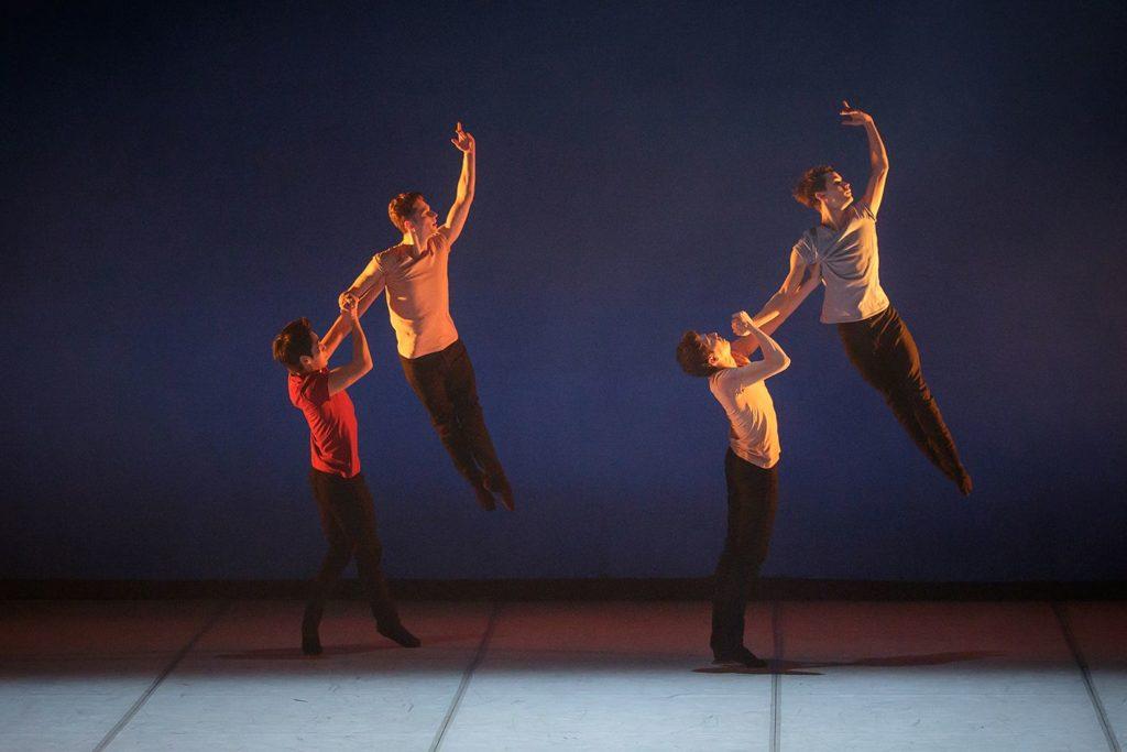 "2. G.Sageev, E.Zabelin, F.Daminev, and S.Moiseev, ""Brahms Party"" by A.Pimonov, Ural Opera Ballet 2021 © O.Kerelyuk / Ural Opera Ballet"