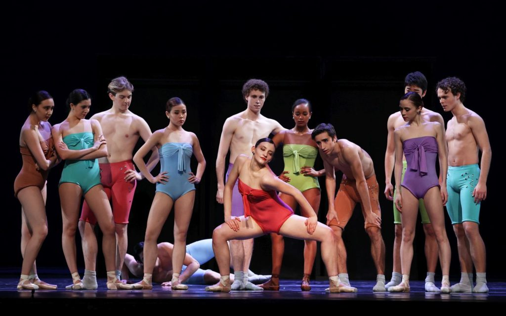 "1. E.Mardegan (center) and members of the Junior Company, ""In and Out"" by H.van Manen, Junior Company of the Dutch National Ballet 2021 © H.Gerritsen"