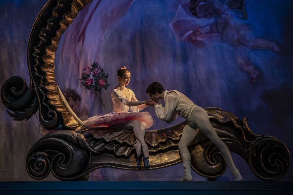 "11. A.Nanu (Princess Aurora) and D.Tenytskyy (Prince Desiré), ""The Sleeping Beauty"" by M.Haydée after M.Petipa, Czech National Ballet 2021 © M.Divíšek"