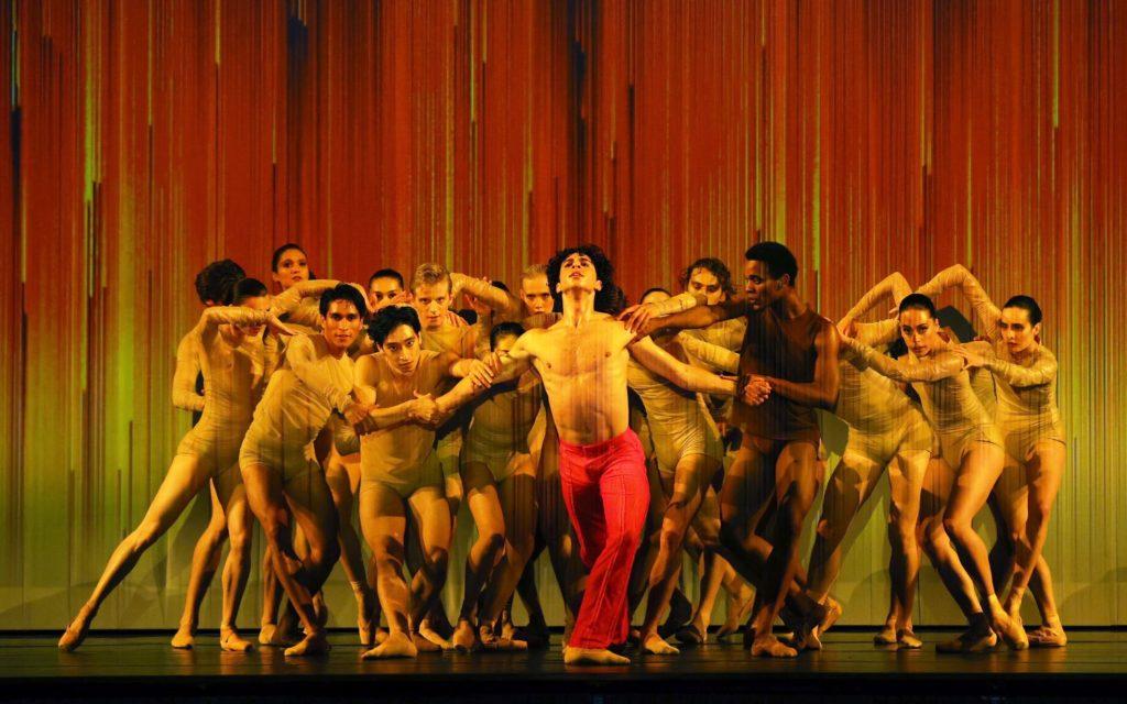"7. T.van Poucke (Prometheus) and ensemble, ""Prometheus"" by W.Kuindersma, E.Meisner, and R.Wörtmeyer, Dutch National Ballet 2021 © H.Gerritsen"