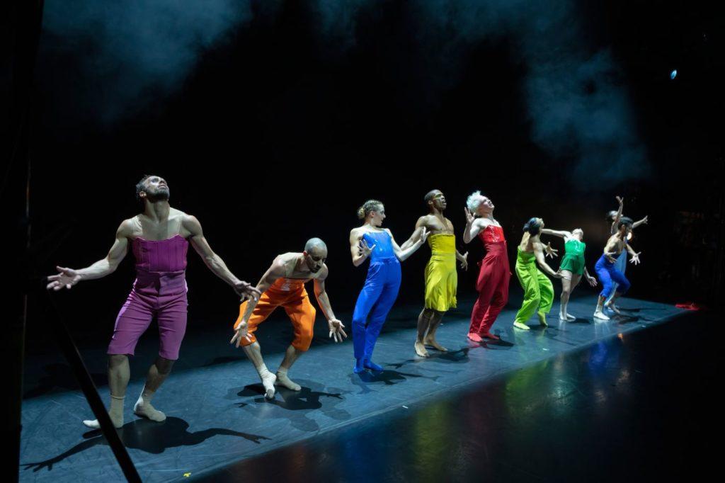 "1. E.Nunes, O.Alonso, S.Vervaecke, C.Blanco, V.Ketelslegers, A.Fernández, A.Tavares, J.Toscano, and S.Tozzi, ""Blitirí"" by G.Montero, Ballet of the State Theater Nuremberg 2021 © J.Vallinas"